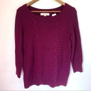 Loft Ann Taylor Knit Pullover Sweater Burgundy Med